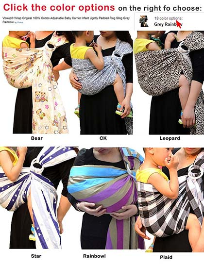 9. Vlokup® Wrap Original 100% Cotton Adjustable Baby Carrier Infant Lightly Padded Ring Sling Grey Rainbow