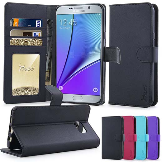 1. Note 5 Cases, Tauri  Wallet Leather Case with Stand, ID & Credit Card Pockets Flip Cover For Samsung Galaxy Note 5 - Black.