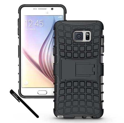 1. Samsung Galaxy Notes 5 - Tough and Rugged Dual Layer Protective Case with Kickstand