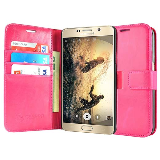 7. Note 5 Case, Note 5 Wallet Case, caseen Ottimo Leather Slim Folio Stand Flip Cover Folio for Samsung Galaxy Note 5