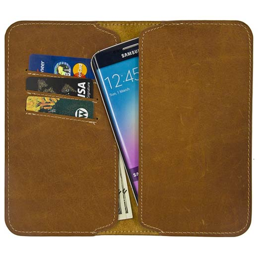 1. Galaxy S6 Edge+ Case, Moze Folio Flip Genuine Leather Wallet Case