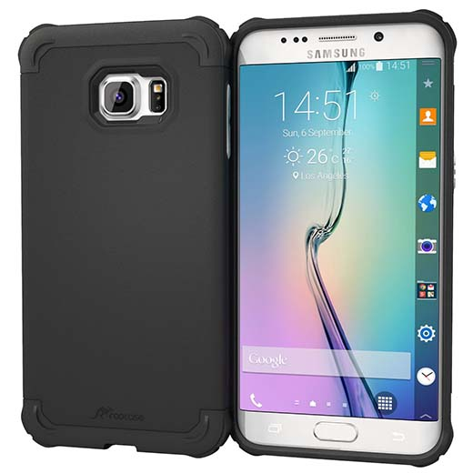 9. Galaxy S6 Edge+ Case, roocase S6 Edge+ Slim Fit Case Hybrid PC / TPU  Armor Cover Case for Samsung Galaxy S6 Edge Plus (2015), Granite Black