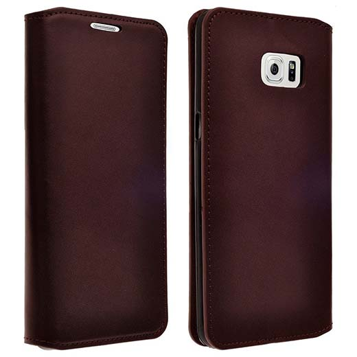 10. Magnetic Brown Genuine Leather Cover with Card Slots Slim Leather Wallet Case - Brown Flip Case + Screen Protector
