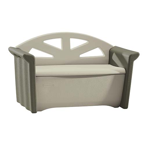 3. Rubbermaid Patio Storage Bench, Dark Platinum #3764