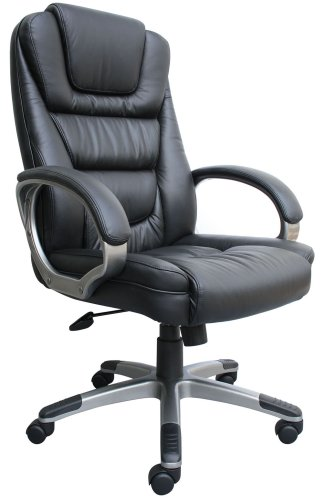 4. Boss Black LeatherPlus Executive Chair