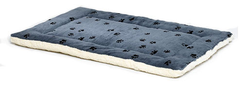 7. Midwest Paw Print Reversible Fleece Stuffed Bed, Blue