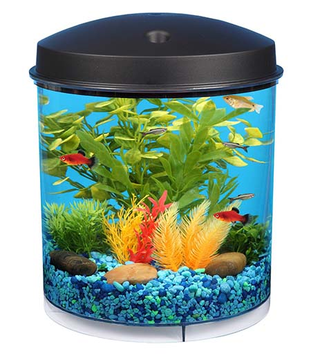 1. KollerCraft API Aquaview 360 Aquarium Kit with LED Lighting and Internal Filter, 2-Gallon