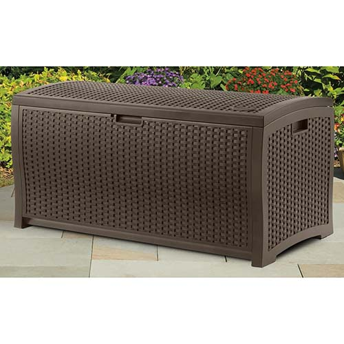 4. Suncast DBW7300 Mocha Wicker Resin Deck Box, 73-gallon