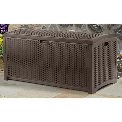8. Suncast DBW9200 mocha wicker resin deck box, 99-gallon