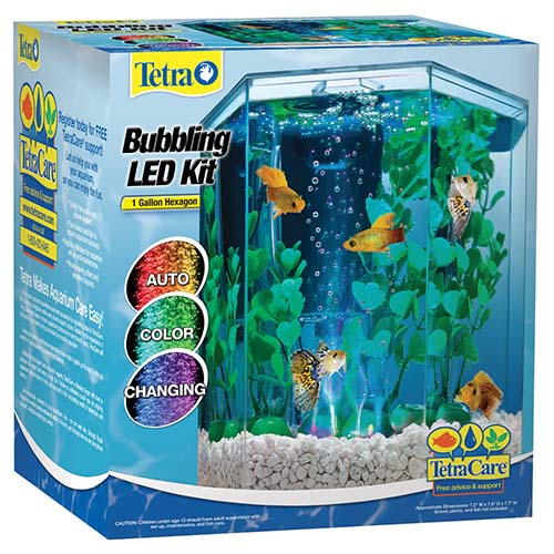 5. Tetra 29040 Hexagon Aquarium Kit with LED Bubbler