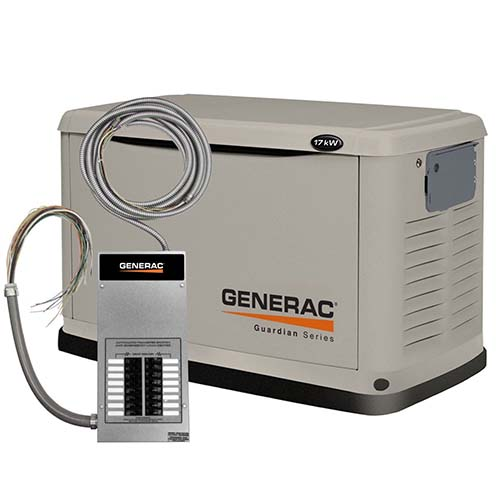 10. Generac 6242 17,000 Watt Air Cooled Steel Enclosure Liquid Propane/Natural Gas Powered Standby Generator