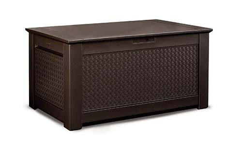1. Rubbermaid 1859930 Outdoor Deck Box Storage Bench with Dark Teak Basket Weave Design