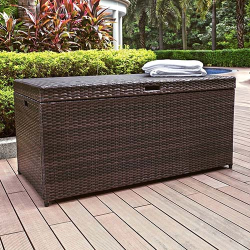 2. Crosley Palm Harbor Outdoor Wicker Storage Bin