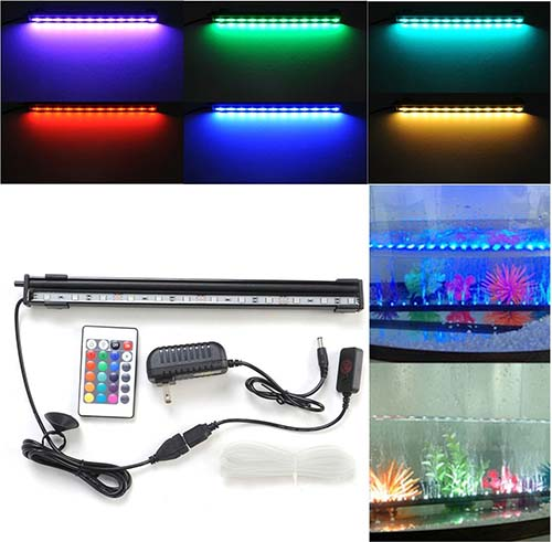 9. Amzdeal® Underwater Aquarium LED Light Bar Flood Light Strip & Air stone for Fish Tank