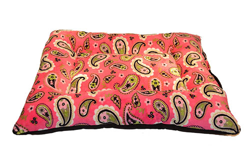 8. Happy Dog Happy Home Pink Paisley Bolster Crate Pad/Black Bottom