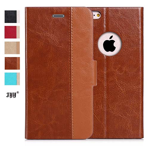 5. Luxurious genuine leather wallet case for the iPhone 6S