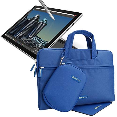 7. Evecase Microsoft Surface Pro 3 / Surface Pro 4 Tablet PC Waterproof Carrying Bag with Handle + Accessories Pouch Case + Mouse Pad Extra Cushion Interior protection – Blue