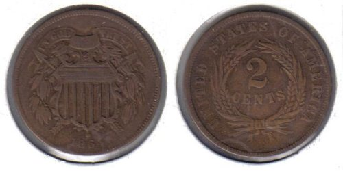 8. 1864 American Copper Two Cent Piece