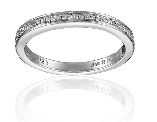 10. Sterling Silver Pave Diamond Accent Wedding Anniversary Ring