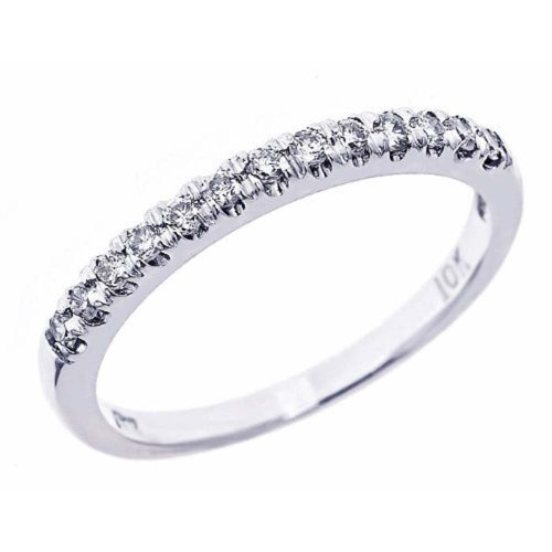6. Pave Set Diamond Wedding Anniversary Band 10k White Gold (1/4 Cttw, I Color I Clarity)