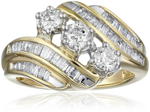 3. 10k Yellow Gold-and-Diamond Anniversary Ring (1 cttw, I-J Color, I2-I3 Clarity)