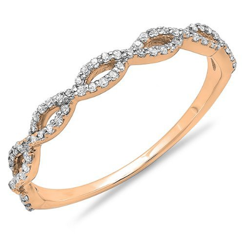 9. 0.20 Carat (ctw) 10K Gold Round Diamond Ladies Swirl Anniversary Wedding Band Stackable Ring 1/5 C