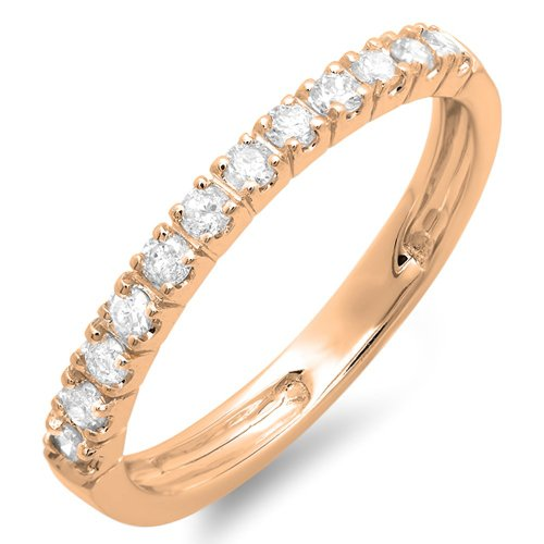 8. 0.40 Carat (ctw) 14K Gold Round Diamond Anniversary Wedding Ring Stackable Band