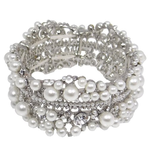 6. Ever Faith Bridal Silver-Tone Flower Simulated Pearl Clear Austrian Crystal Stretch Bracelet
