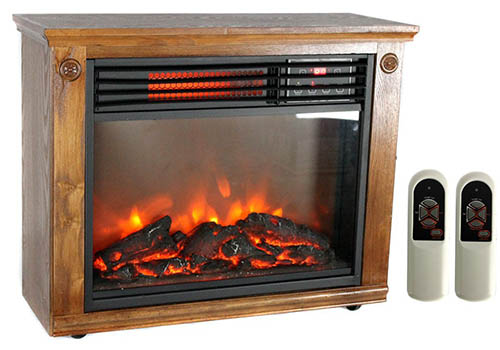 8. LifeSmart LifePro LS-1111HH 1800 Sq Ft Portable Infrared Quartz Fireplace Heater