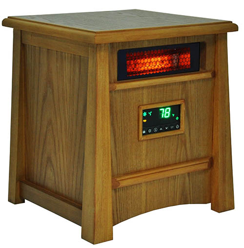 9. Lifesmart Corp Lifelux Series Ultimate 8 Element Extra Large Room Infrared Heater W/ Air Ionizer System Deluxe Wood Cabinet & Remote