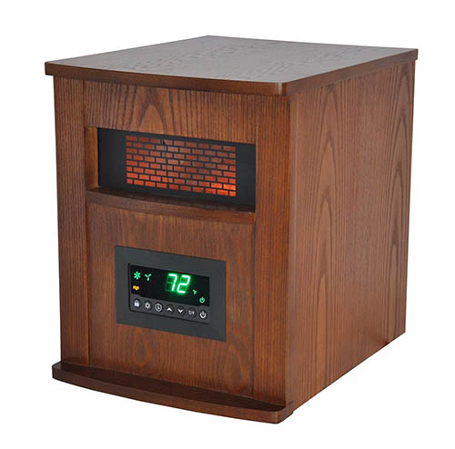 6. Lifesmart 6 Element Large Room Infrared Quartz Heater w/Wood Cabinet and Remote