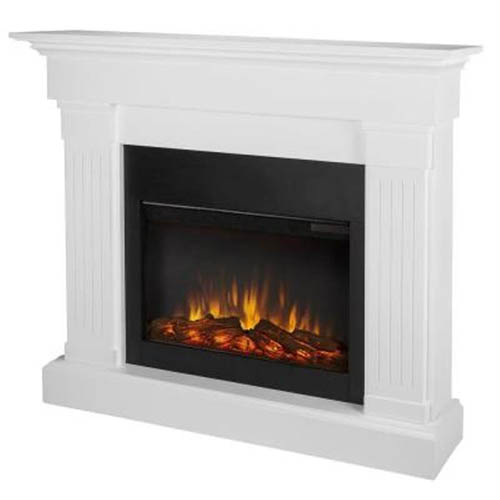 9. Real Flame Crawford Electric Slim Line Fireplace in White Finish