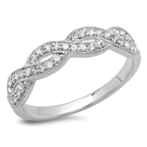 4. 0.30 Carat (ctw) 14K Gold Round Diamond Ladies Bridal Anniversary Wedding Stackable Swirl Ring 1/3 CT