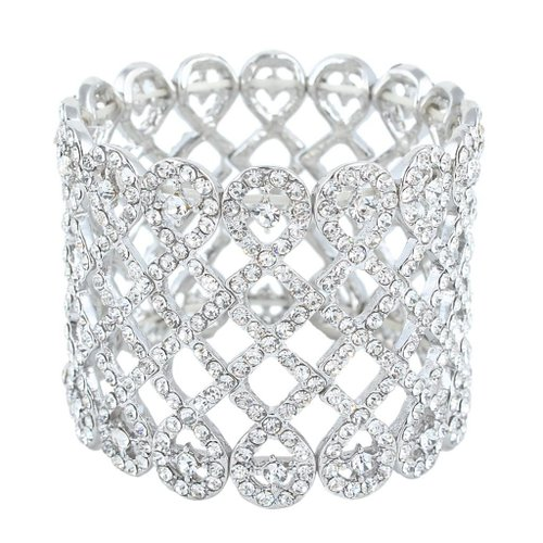 8. Ever Faith Art Deco Love Knot Clear Austrian Crystal Silver-Tone Wide Stretch Bridal Bracelet
