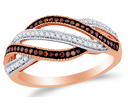 8. Rose Gold White And Chocolate Brown Round Diamond Wedding Band Ring