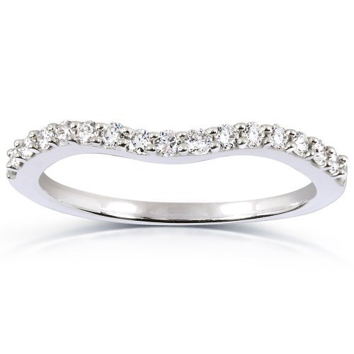 7. Curved Round Diamond Wedding Band Ring