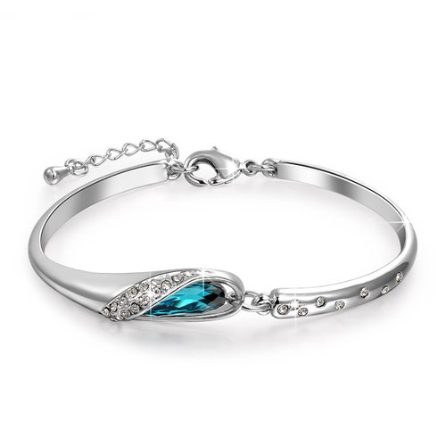 3. Blue Swarovski Elements Crystal Bangle