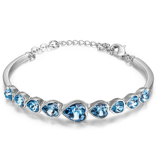 4. Swarovski Elements Crystals Heart Shape Bangle Bracelet