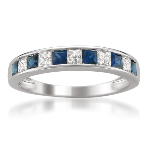 3. 14k White Gold Princess-Cut Diamond And Blue Sapphire Wedding Band Ring