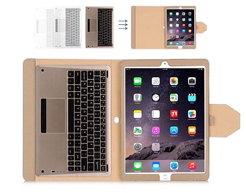 6. iPad Pro Case, FYY  Magnetically Detachable Wireless Bluetooth Keyboard Leather Case