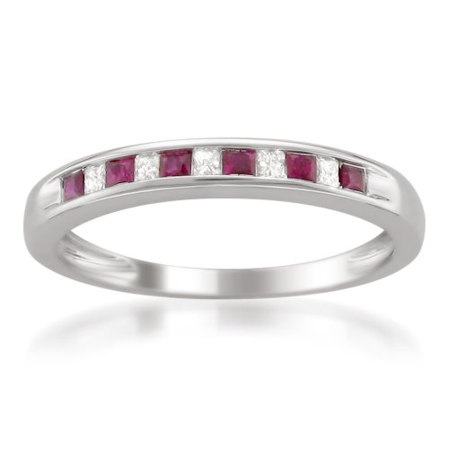 6. 14k White Gold Princess-Cut Diamond and Red Ruby Wedding Band Ring