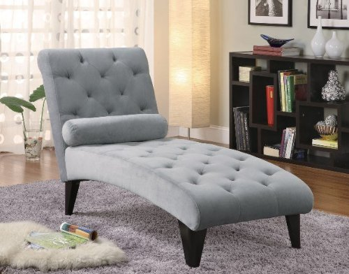 10. Coaster Chaise Lounge with Button Tufted Gray Velour Fabric in Black Finish