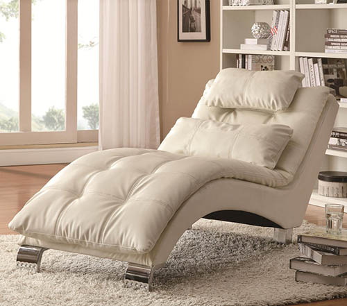5. Coaster Home Furnishings Contemporary Chaise, White