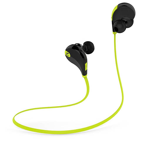 5. SoundPEATS QY7 V4.1 Bluetooth Mini Lightweight Wireless Stereo Sports Headphone - Black/Green