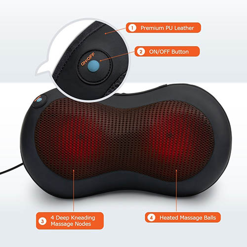 2. Shiatsu Neck & Back Massager Pillow - Shiatsu Massager Heated Balls - Car Massager - Kneading Shiatsu Massager