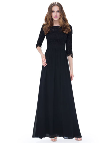 4. Ever Pretty Women's Lace Long Sleeve Floor Length Evening Dress 08412