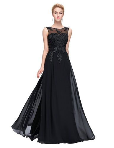 8. GRACE KARIN Chiffon V Back Evening Dresses Long Prom Gown With Beads Appliques