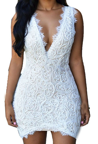 7. Zkess Women`s Double V Neck Sleeveless Club Lace Vintage Dress