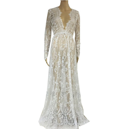 9. Floral Lace See-through Deep V-neck Long Sleeves Bridesmaid Maxi Dress w/ Necklace