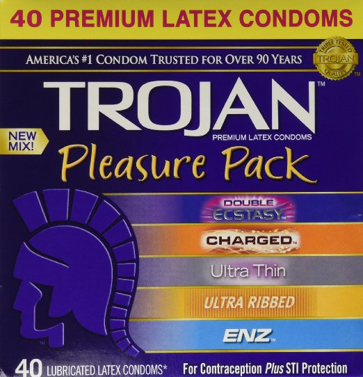 6. Trojan Pleasure Pack NEW MIX Premium Lubricated Latex Condoms - 40 Count Variety Pack - Double Ecstasy, Charged, Ultra Thin, Ultra Ribbed, ENZ - Brand NEW